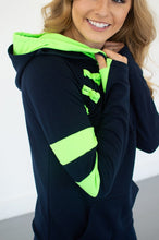 Load image into Gallery viewer, Navy/Lime Varsity Hoodie