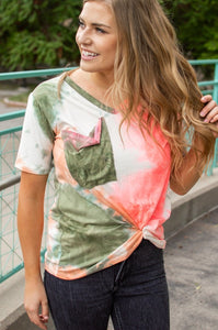 Hot Coral and Olive Tie Dye Slouchy Pocket Tee