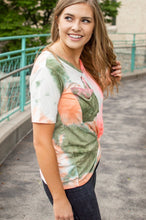 Load image into Gallery viewer, Hot Coral and Olive Tie Dye Slouchy Pocket Tee