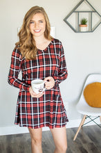Load image into Gallery viewer, Lounge Dress | Black and Red Plaid