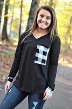 Load image into Gallery viewer, Buffalo Plaid Pocket Top | Black and White Buffalo