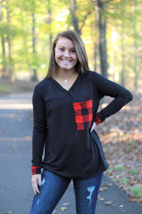 Buffalo Plaid Pocket Top | Red and Black Buffalo