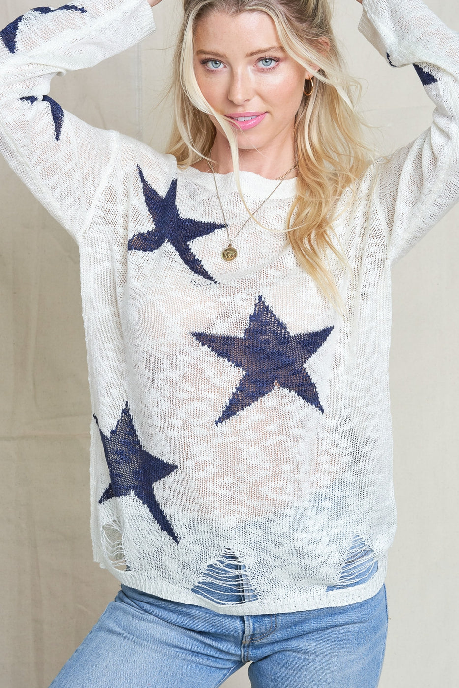 Star Distressed Sweater
