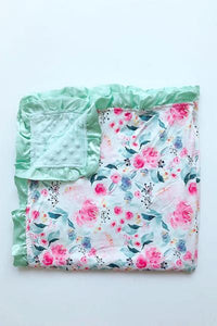 Green Floral Printed Minky Ruffle Blanket