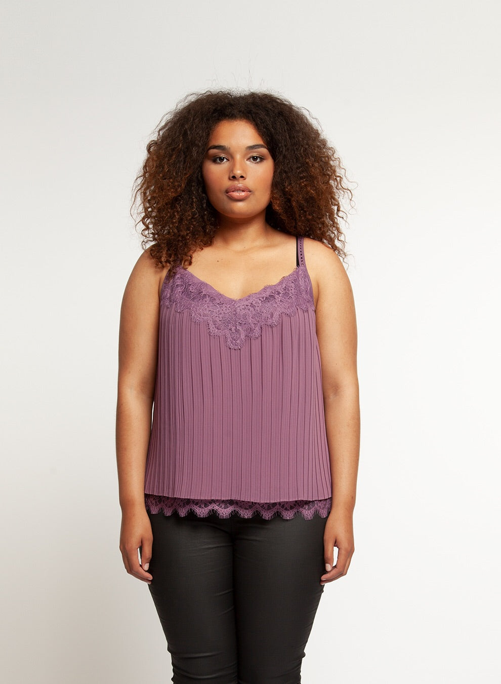 Pleated Cami w/ Lace Detail