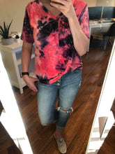 Load image into Gallery viewer, Slouchy Pocket Tee | Hot Pink Tie Dye