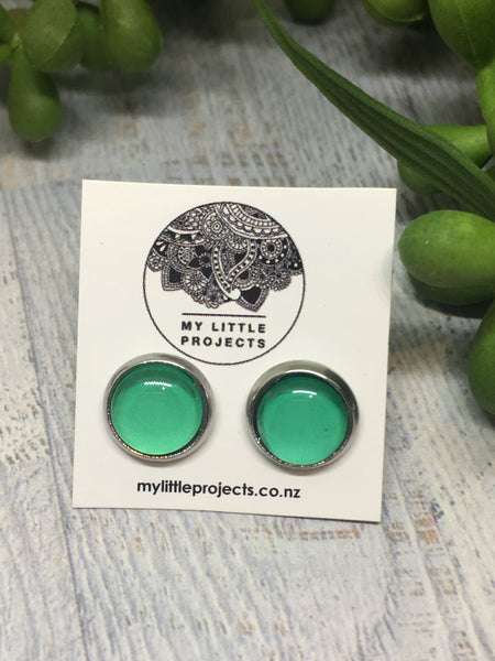 Mini Glass Dome Studs - (8mm PLAIN COLOUR)