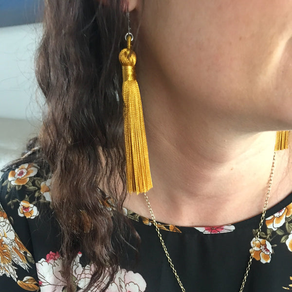 Large Silky Tassel Earrings - Lots of colours