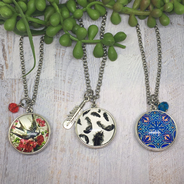 Double Sided LARGE Dome Necklaces -Various designs
