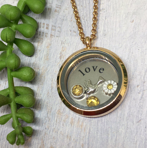 Floating Locket Necklace - ROSE GOLD