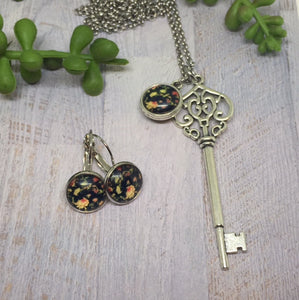Antique Silver Key Necklace and Earrings