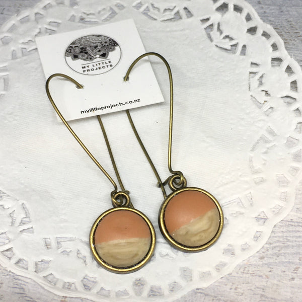 Resin and Wood Kidney Wire Earrings - Bronze