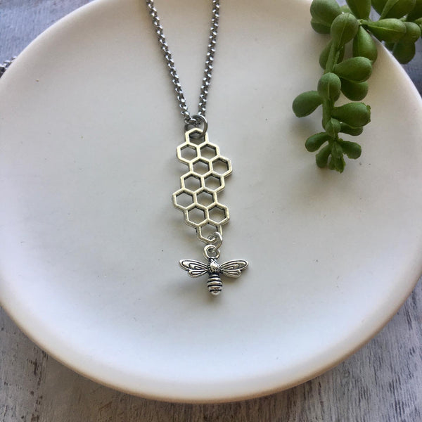 Bee and Honey Comb Necklace - Silver or gold