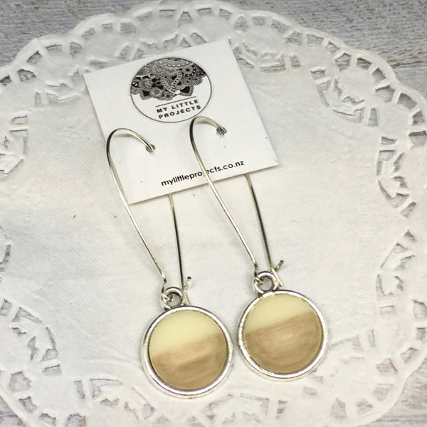 Resin and Wood Kidney Wire Earrings - Silver