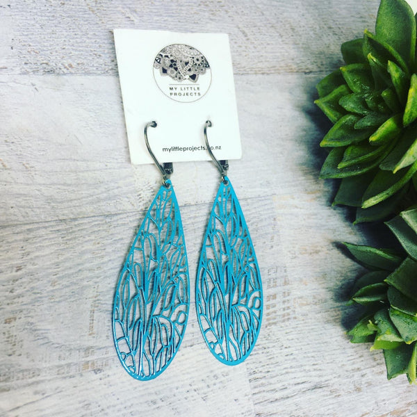 Lasercut Large Teardrop Earrings - lots of colours