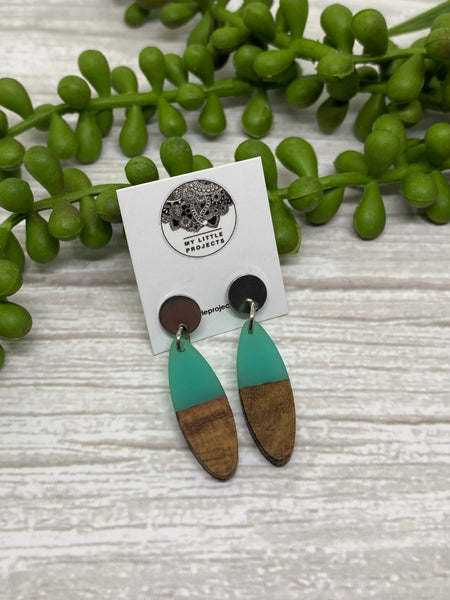Wood and Resin Leaf Earrings