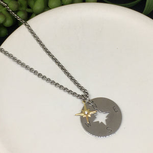 Compass Necklace - in silver gold,  or rose gold