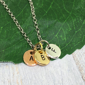 Personalised Letter Necklace - Silver with MIXED discs