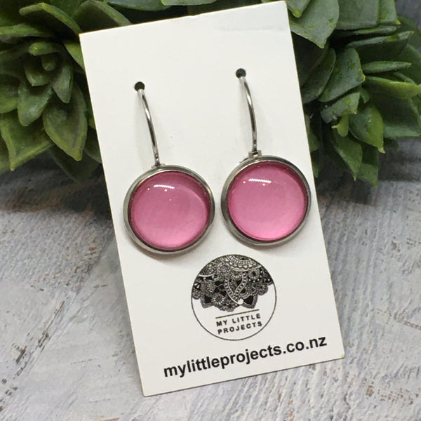 Earrings - SILVER French Drop Plain colours - 12mm