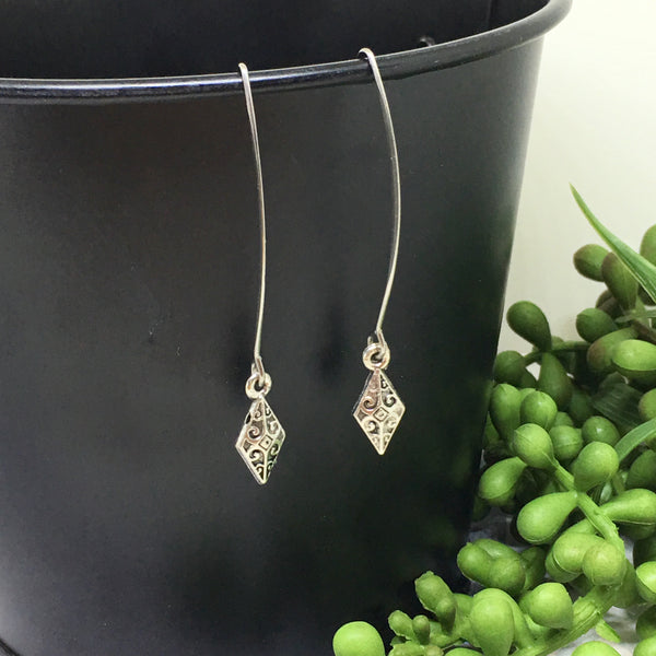 Long Drop Down Earrings - Silver charms (lots of styles)