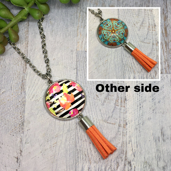 Double Sided Dome & Tassel Necklaces- Various Designs