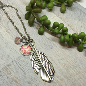 Feather Necklace with Pink Rose