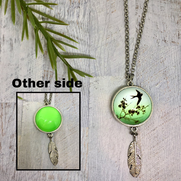 Double Sided Feather Drop Necklace - Large 25mm