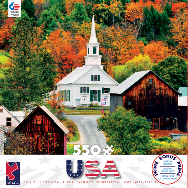Around the World USA - Waits River Church - Vermont - New England - 550 Piece Puzzle