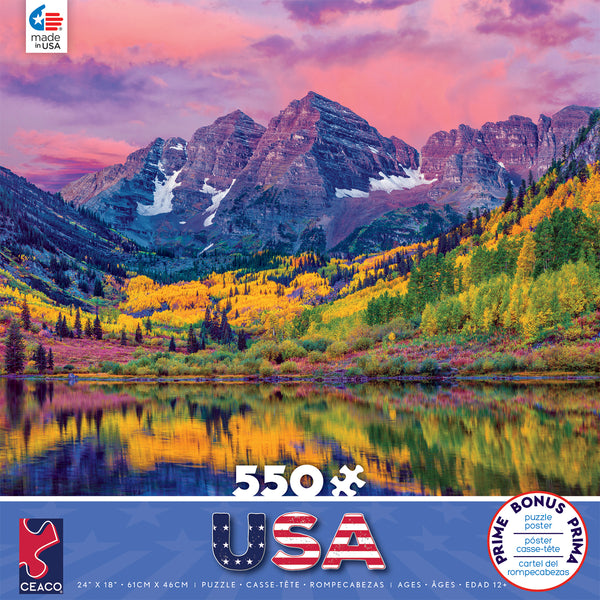 Around the World USA - Maroon Bells - Aspen - Colorado - 550 Piece Puzzle