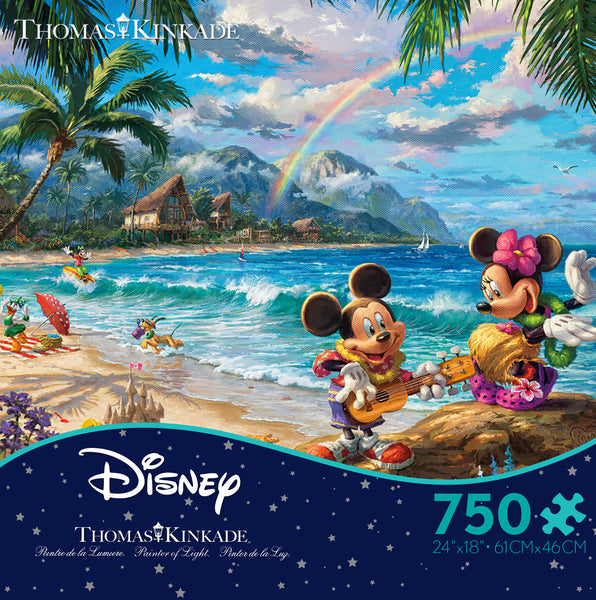 Thomas Kinkade Disney - Mickey and Minnie in Hawaii - 750 Piece Puzzle