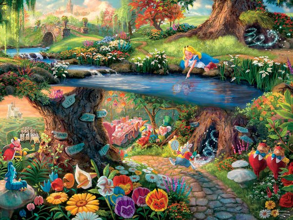 Thomas Kinkade Disney Alice In Wonderland Perfect Piece Count