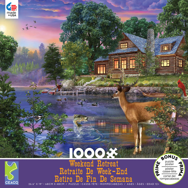 Weekend Retreat - White Tail Deer Lakehouse - 1000 Piece Puzzle