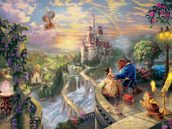 Thomas Kinkade Disney - Beauty & The Beast Falling in Love - Perfect Piece Count