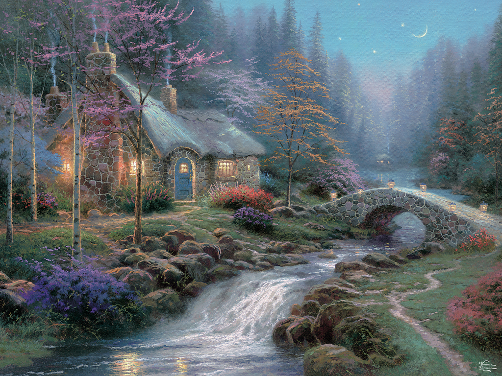 Phenomenal Thomas Kinkade Twilight Cottage Perfect Piece Count Home Interior And Landscaping Ologienasavecom