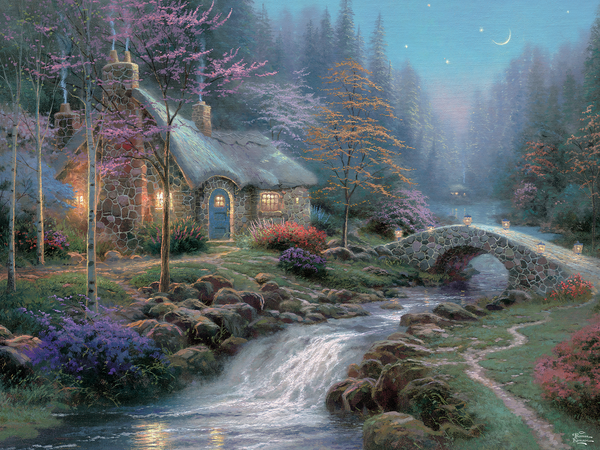 Sensational Thomas Kinkade Twilight Cottage Perfect Piece Count Home Interior And Landscaping Ologienasavecom