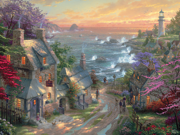Thomas Kinkade - The Village Lighthouse - Perfect Piece Count