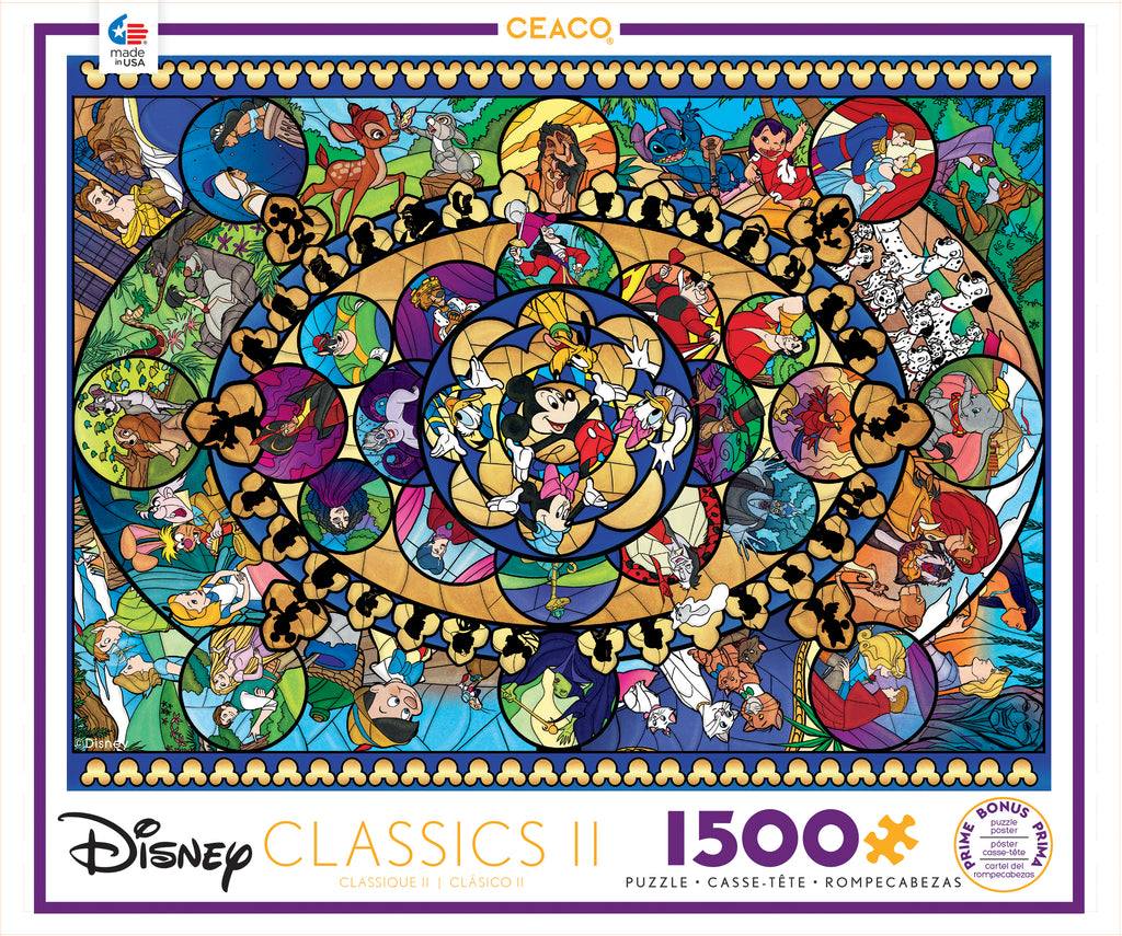 Disney Stained Glass Puzzle.Disney Classics 2 1500 Piece Puzzle