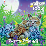 Furry Friends Glitter - Family Cat - 100 Piece Puzzle
