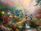 Thomas Kinkade Disney - Mickey and Minnie Sweetheart Bridge - 750 Piece Puzzle