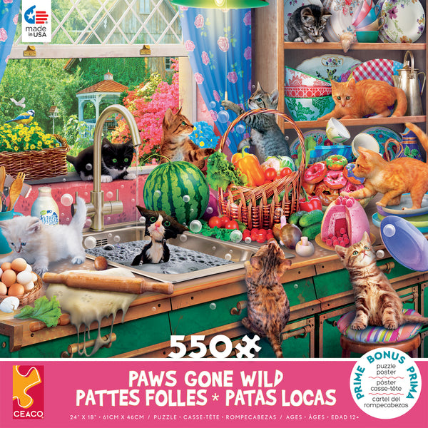 Paws Gone Wild - Kitchen Capers - 550 Piece Puzzle