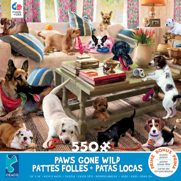 Paws Gone Wild - Living Room Rompers - 550 Piece Puzzle