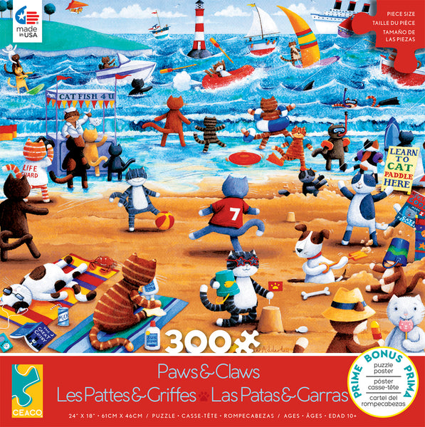 Paws & Claws - Beach Cats - 300 Piece Puzzle