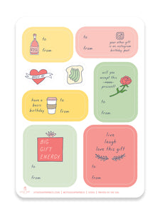 Basic AF Sticker Gift Tag Set