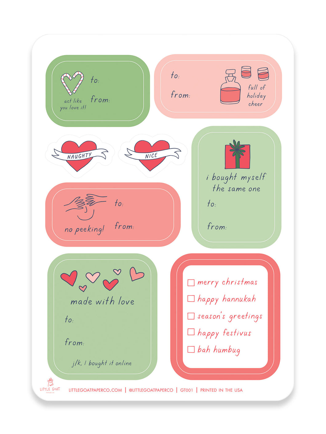 Holiday Sticker Gift Tag Set