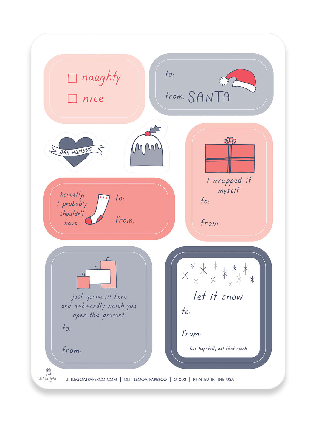 Santa Sticker Gift Tag Set