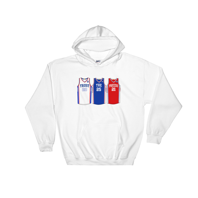 Trust The Process Philly Jerseys (Fultz Simmons Embiid) Hooded Sweatshirt