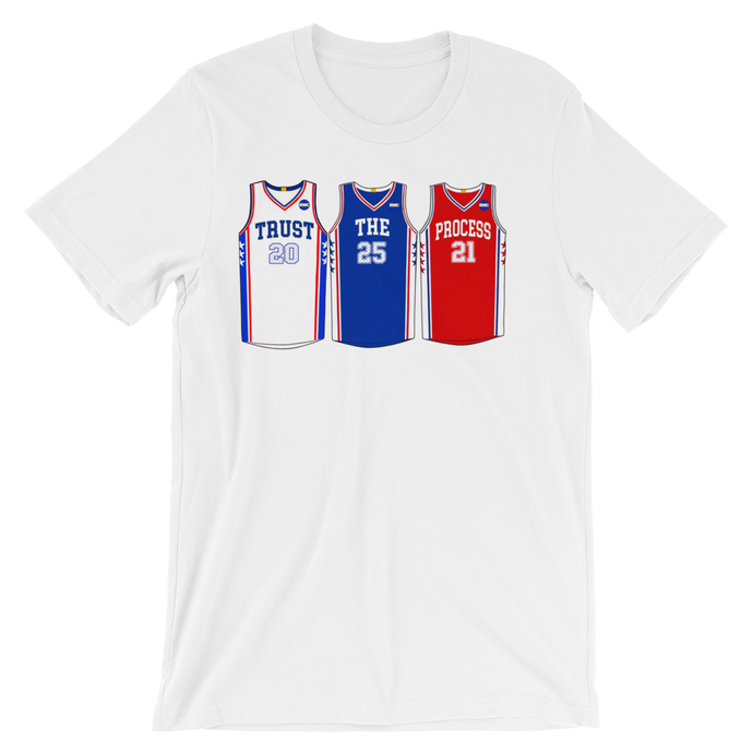 Trust The Process Philly Jerseys (Fultz Simmons Embiid) Tee Shirt