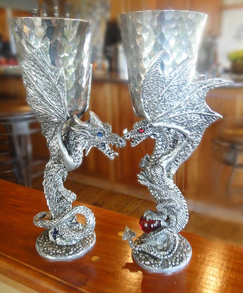 Limited Edition Cobalt Dragons! Hammered Pewter Goblets