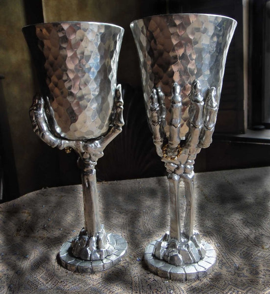 """Til death do us part""! Skeleton Pewter Goblet"