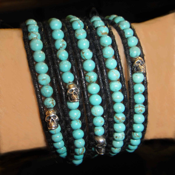 Tourquoise Chan Luu Wrap Bracelet with Skulls